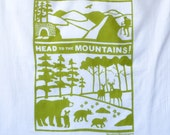 Flour Sack Dish Towel - Head to the Mountains, Green