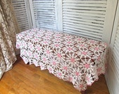 Vintage Handmade Hand Crochet Cottage Chic Pink and White Floral Motif Old Fashioned Tablecloth Table Cover Throw Mid Century Home Decor