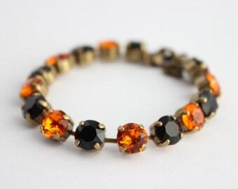 Swarovski Bracelet, Halloween bracelet, rhinestone bracelet, tennis bracelet, black bracelet, orange bracelet, Halloween jewelry, witch SBO1