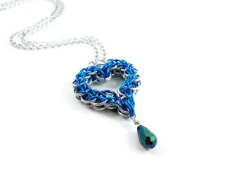 Blue Chainmaille Heart Necklace, Metal Heart Pendant, Handmade Chainmaille Jewelry, Romantic Gift