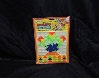 Vintage Lido Educational Moasic Picture Game NEW For Boys and Girls Plastic Tiles Orange Green Blue Yellow
