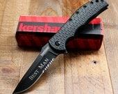 Kershaw Volt II Black Folding Knife Serrated Blade - Personalized Groomsmen Gift, Engraved Birthday Gifts, Best Man, Engraved, Custom Knives