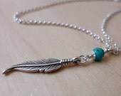 Feather Sterling Silver Turquoise Necklace. Rustic Pendant