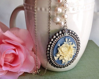 Rose Cameo Necklace, Handmade, Statement necklace, Blue and White with real freshwater pearls bridal bridesmaid