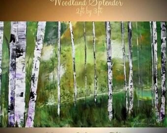 "Oil Landscape painting Abstract Original Modern 36"" palette knife Birch Trees oil  impasto oil painting by Nicolette Vaughan Horner"