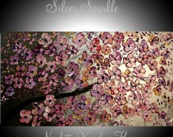 "XL Original Modern 48"" palette knife signature floral impasto oil painting Metallics,Silvers,Greys,plum, by Nicolette Vaughan Horner"