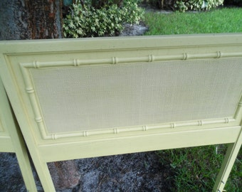 On Hold DO YOU BAMBOO/ Pair Of Solid Wood Faux Bamboo Twin Headboards / Palm Beach Chic / Hollywood Regency