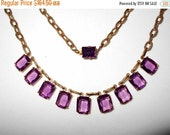 NOW ON SALE Beautiful Purple Glass Art Deco Necklace ** 1920's 1930's Antique Rhinestone Jewelry