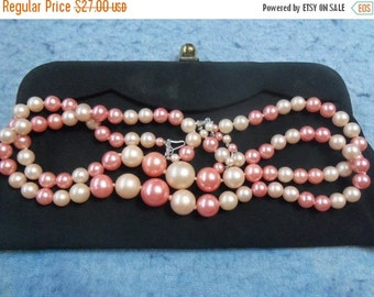Now On Sale Vintage Pink Necklace Made in Japan 1960's Collectible Chunky Retro Rockabilly Jewelry