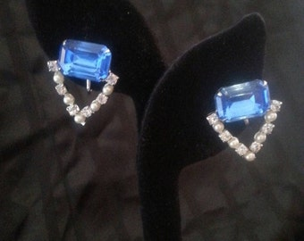 Now On Sale Vintage Blue Rhinestone Earrings 1940s 1950s Mid Century Mad Men Mod Hollywood Regency Jewelry Free US Shipping