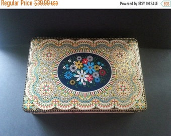 Now On Sale 1950's 1960's  Tin, Mosaic Flower Design, Home Decor, Retro Belgium Container, Vintage Home Storage Organization Solutions