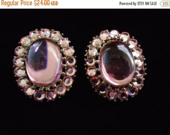 Now On Sale Vintage Pink Rhinestone Earrings Mad Men Mod Hollywood Regency Jewelry