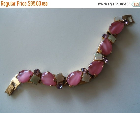 Christmas In July Sale Vintage Pink Rhinestone Bracelet 1950's Collectible Mad Men Mod Mid Century Hollywood Regency Rockabilly Jewelry