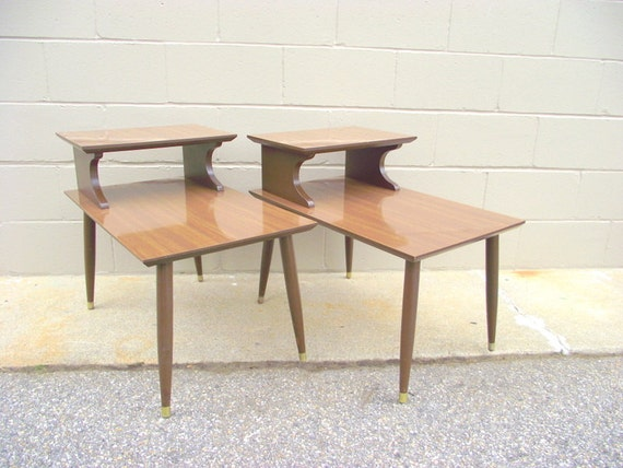 2 Mid Century 2 Tier Step Back Side Tables Retro Atomic End