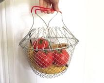 Vintage Fruit Basket - Collapsible Basket - Folding Basket - Metal Shopping Basket - Retro Kitchen