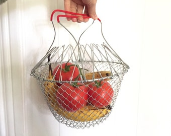 Vintage Fruit Basket - Collapsible Basket - Folding Basket - Metal Shopping Basket - Retro Kitchen