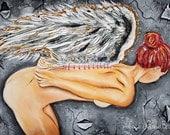 Angel painting, fallen angel, dark angel, new beginnings, nude, fine art, vintage, renaissance, da vinci, gold leaf, stitched angel, wings