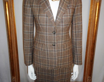 Vintage 1970/80's Evan-Picone Brown/Grey Plaid Suit - Size 4/6
