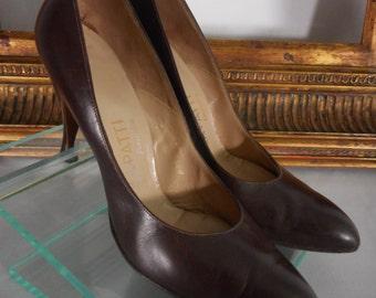Vintage 1960's La Patti Brown Leather Pumps - Size 7 1/2