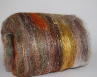 Wooly Batts, hand dyed art batts for spinnning, hand carded, needle felting supplies, felting fiber, spin your own Curly Furr fiber batt