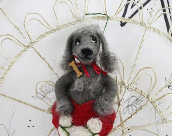 Needle felted poodle ornament, gray poodle Pet Pockets, dark gray poodle, standard, miniature poodle, bedlington terrier, ready to mail
