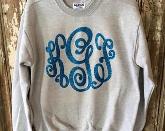 SALE Glitter Monogrammed Sweatshirt-Adult