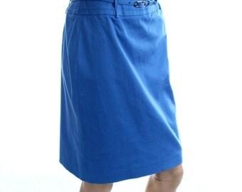 Vintage 90s Kasper Petite Indigo Blue Knee Length Pencil Skirt UK 10 US 8