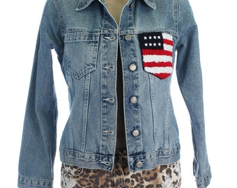 Vintage 90s Fishbone Faded Stonewash Blue Denim Usa Flag Jacket Coat UK 8 US 6