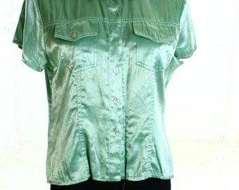 Vintage 90s Sassan Green Sheen Fitted Shirt UK 14 US 12