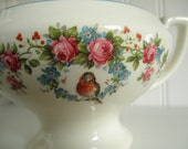 Victorian Blue Bird Sugar Bowl & Lid Vintage China Cottage Shabby Chic Elegant Serving Dining Tableware High Tea Bluebird Roses Floral