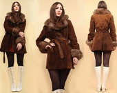 60s 70s Vtg Brown SUEDE Leather SHEARLiNG Genuine Fur SPY Trench Jacket Pea Coat Mod Rocker Belted Hippie Glam Almost Famous / Small