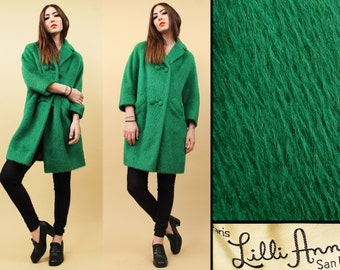 60s Vtg LILLI ANN rare Grass Green MOHAiR Wool Pea Coat / Shaggy Straight Cut Minimalist Mod Jacket Double Breasted / Sm Med