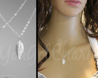 The Charm Leaf Necklace - Charm Necklace - Silver Leaf Necklace - Layering Necklace - Layered Necklace
