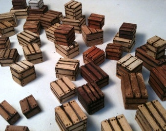 Miniature Wood Crates Variety of 6 Different Solid Wood Block Crates