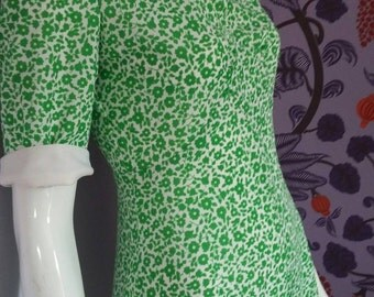 1960's Green and White Flowered Dress