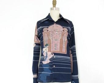 Vintage Chemise et Cie Art Nouveau Long Sleeve Button Up Shirt . Women's Size Small / Medium