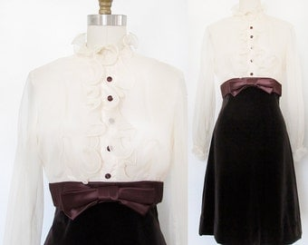Vintage Tuxedo Dress . 1960s Brown Velveteen and Creamy Ruffles . Size Medium