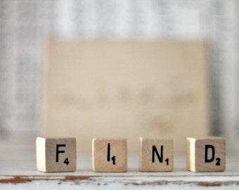 vintage wood block word FIND