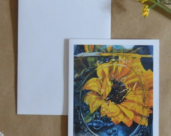 Sunflower in A Mason Jar-Single Greeting Card and Envelope