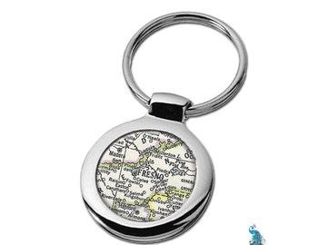 Map Keychain Fresno California Key Ring Fob