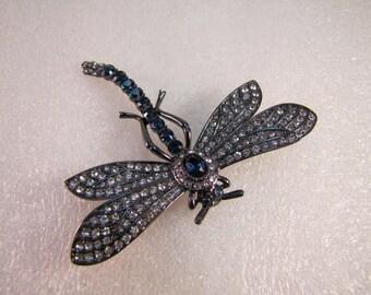 Fabulous Joan River Sapphire Swarovski Crystal Dragonfly Brooch