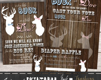 Buck or Doe Gender Reveal Invitation, Buck or Doe Diaper Raffle Tickets, and Buck or Doe Cast Your Vote Package Instant Download PRINTABLE