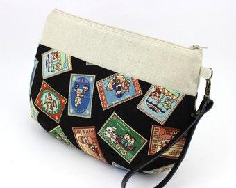 Zipper Wristlet Clutch Purse Makeup Bag Kimono Handbag Retro Children Labels Black