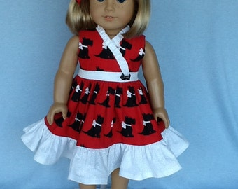18 inch doll dress and hair clip.   Fits American Girl Dolls.  Scotty dog wrap dress.