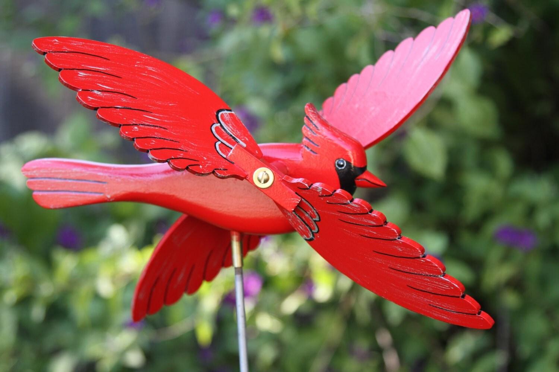 Cardinal Whirligig Bird Garden Decor Whirlygig Lawn