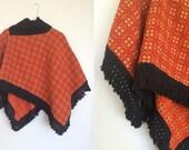 1970s Women's Orange Tapestry Poncho Turtle Neck Cape
