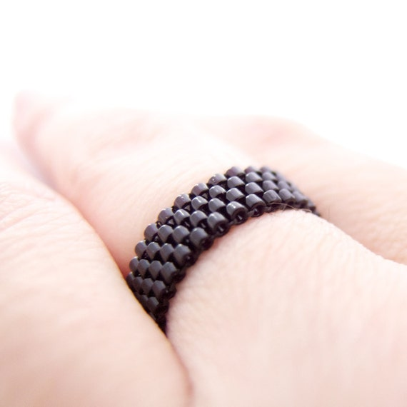 Skinny Black Ring, Black Beaded Ring, Black Stacking Ring, Skinny Ring, Dreadlock Bead