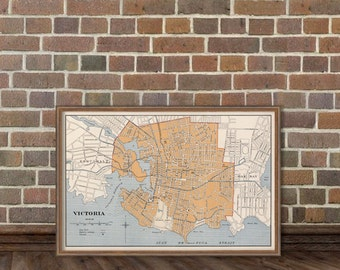 Old map of Victoria   - Fine print - Victoria map  restored