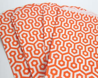 10 orange and white goodie bags, treat bags, party favor bags, 5 x 7 paper bags, geometric print bags