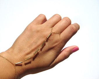 Gold Slave Bracelet - Gold Filled Bracelet - Elegant Hand Chain - Bridesmaids - Layering Bracelet - Body Chain // Aylin